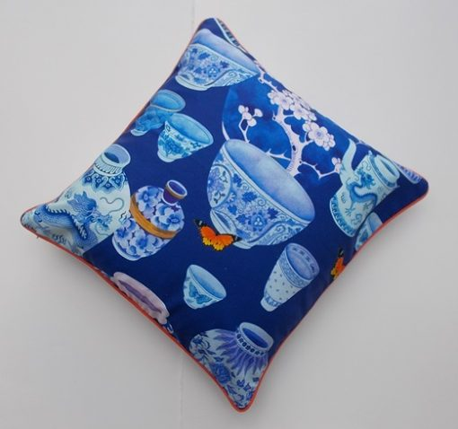 Limited edition cotton cushion cover: Blue and white ceramics