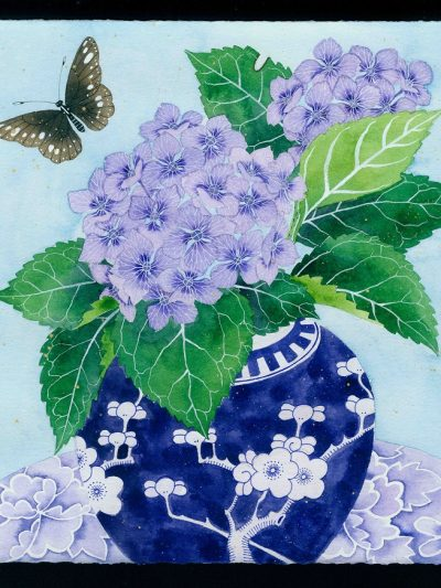 Gabby Malpas original watercolour painting: 'hydrangeas and butterfly'