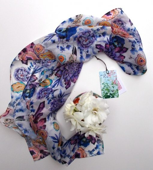 Hand rolled silk chiffon scarf: Day out in Newtown