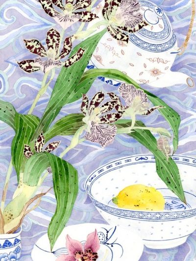 Gabby Malpas original watercolour painting: 'Orchids and ceramics'