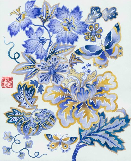 Blue and brown floral 1 Original watercolour painting on paper by Gabby malpas