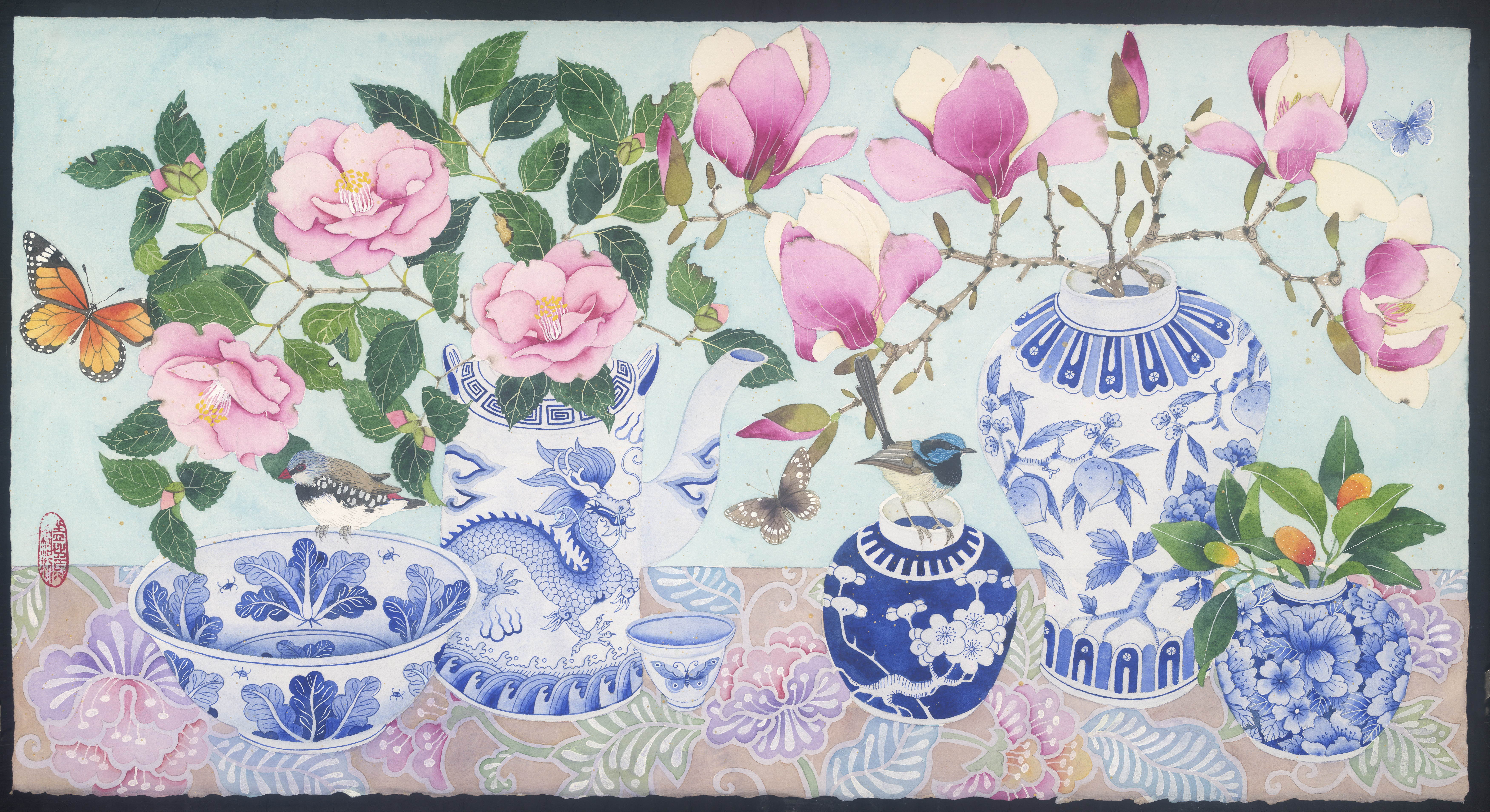 pink florals in blue and white porcelain