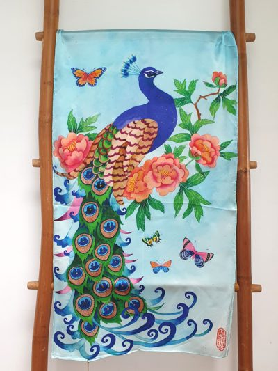 100% silk satin scarf. limited edition. Design from my original watercolour painting: art nouveau peacock