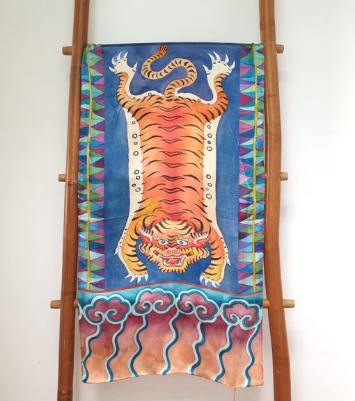 100% silk satin scarf. limited edition. Tiger design