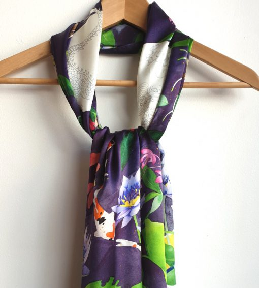 100% silk satin scarf. limited edition. Design from my original watercolour painting topsy turvy