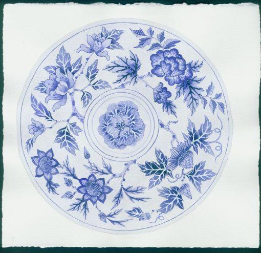 Gabby Malpas original watercolour painting: 'Blue plate 4' Copy