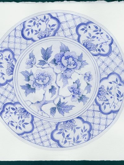 Gabby Malpas original watercolour painting: 'Blue plate 3'