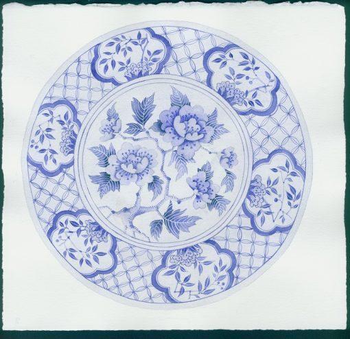 Gabby Malpas original watercolour painting: 'Blue plate 3'