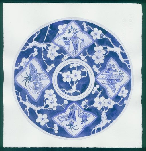 Gabby Malpas original watercolour painting: 'Blue plate 2'