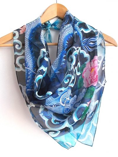 Hand rolled silk chiffon scarf: Chasing the dragon