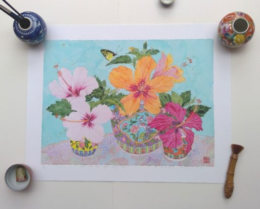 Archival limited edition print: Hibiscus: I will not love you long time: A2 size print