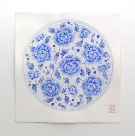 Gabby Malpas original watercolour painting: 'Blue plate 1'