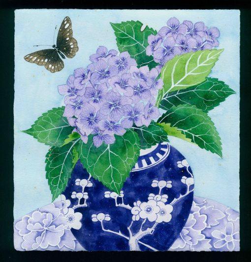 Gabby Malpas original watercolour painting: 'hydrangeas and butterfly'