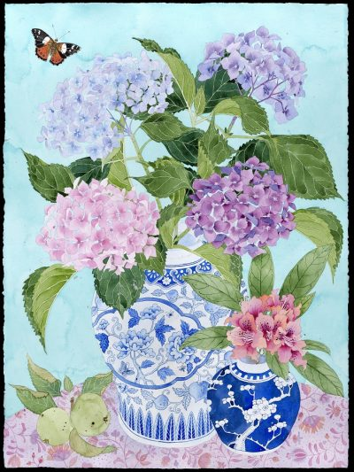 Limited edition print on archival paper: In my mother's garden: hydrangeas