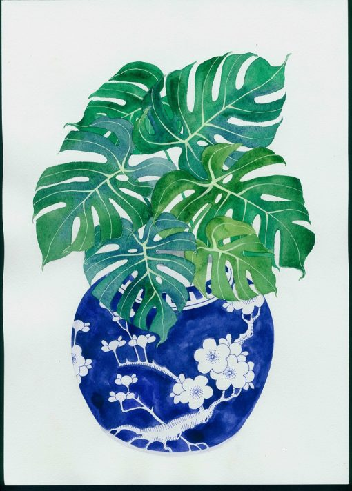 Gabby Malpas original watercolour painting: 'monstera and ginger jar'
