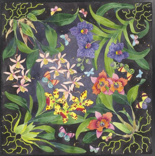 Limited edition print on archival paper: orchids and butterflies