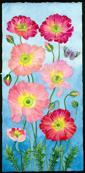 Gabby Malpas original watercolour painting: 'Poppies'