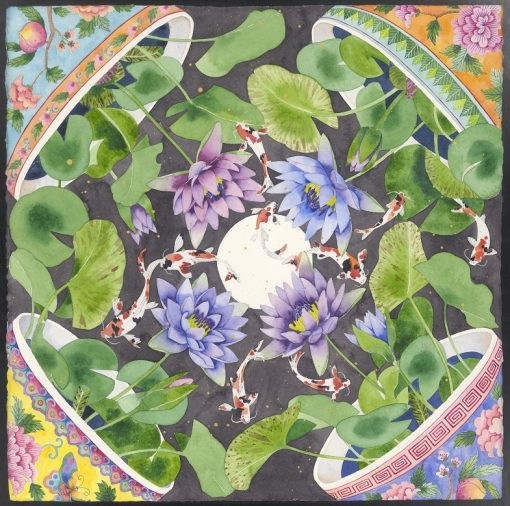 Gabby Malpas Pure Silk scarf: 9 koi of longevity fell from the moon