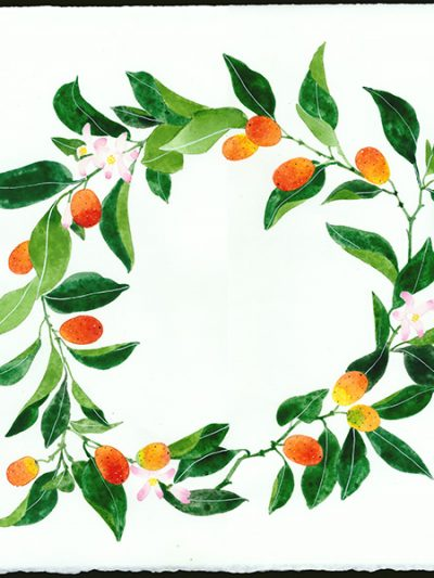 Gabby Malpas original watercolour painting: 'kumquat wreath'