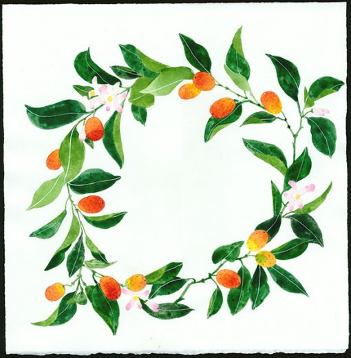 Gabby Malpas original watercolour painting: 'kumquat wreath'