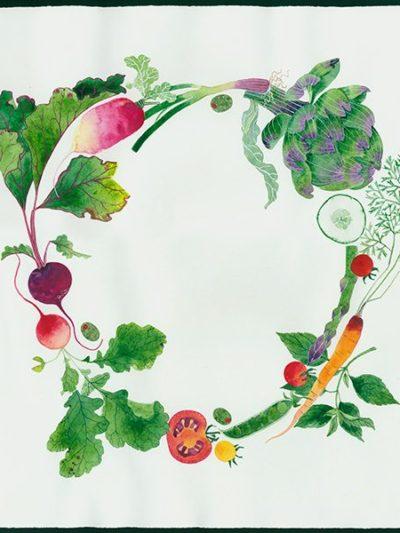 Gabby Malpas original watercolour painting: 'vegetable wreath'