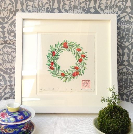 yew wreath watercolour and gouache on arches paper original painting by Gabby Malpas
