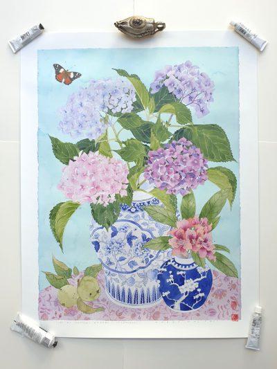 rchival print In my mothers garden hydrangeas 60cm x 80cm