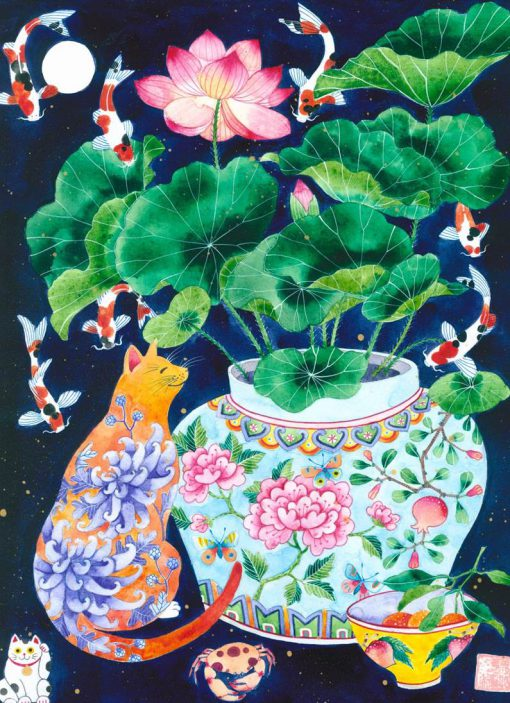 Peranakan cat with lotus