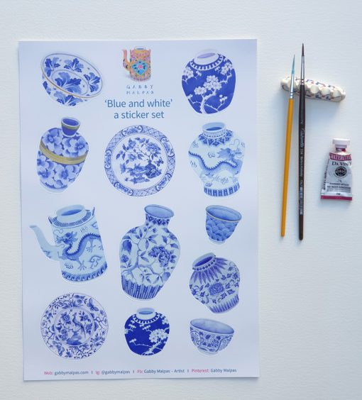 blue and white sticker set A4 size