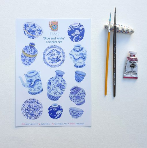 blue and white sticker set A5 size