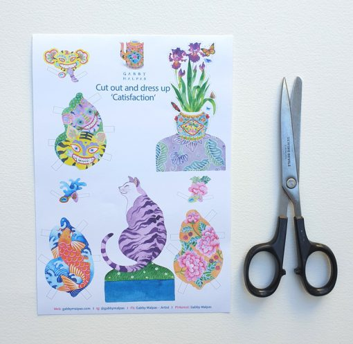 catisfaction paper doll sheet with scissors A5 size