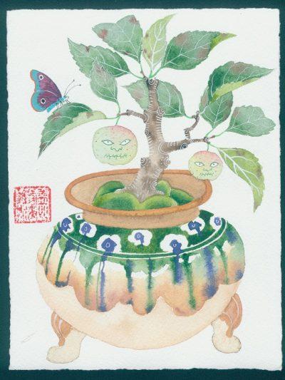 Cursed apple bonsai. original watercolor painting on paper