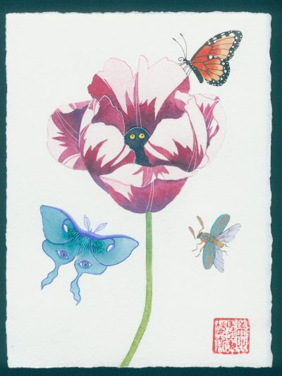 cursed tulip. original watercolor painting on paper during the time of COVID19