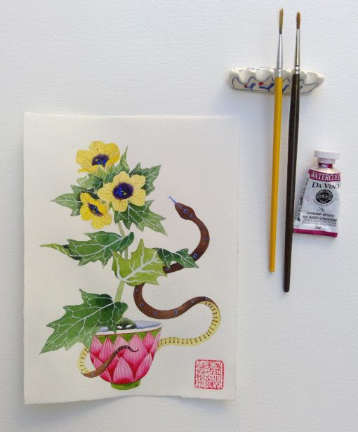 henbane and snake. original watercolor painting on paper