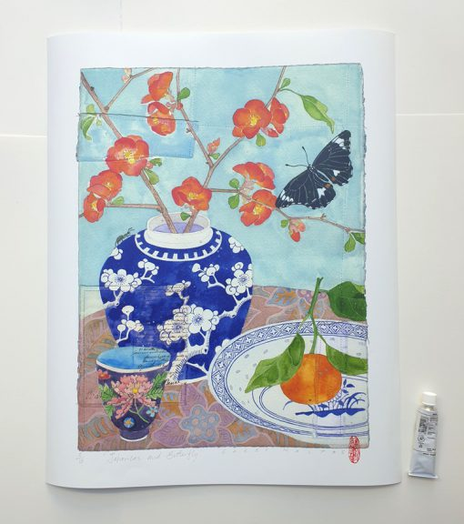 Archival print: japonicas and butterfly 41cm x 55cm