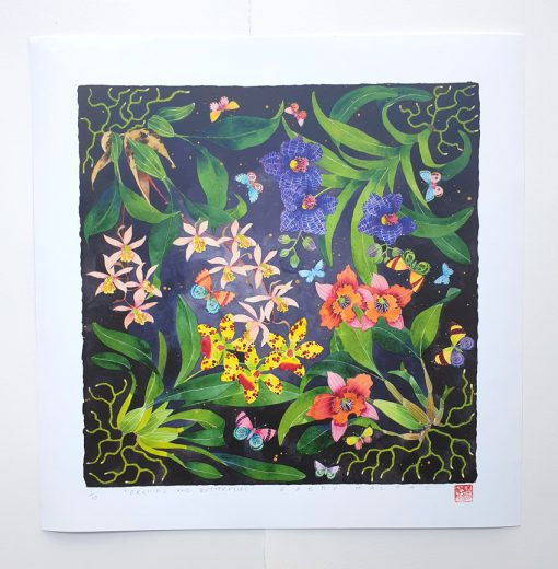archival print: orchids and butterflies 42cm x 42cm