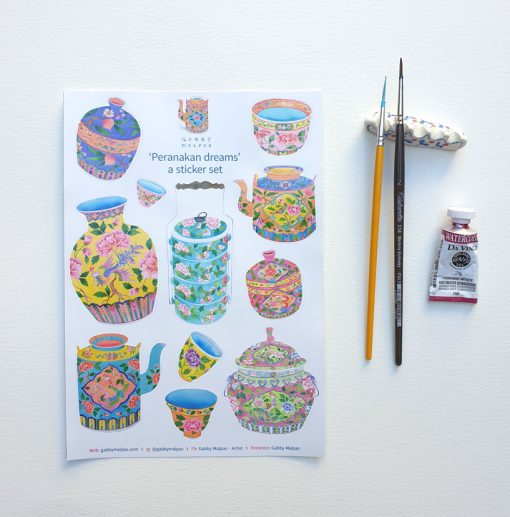 Peranakan sticker sheets set of 3 A5 size