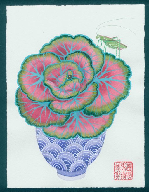 savage cabbage. original watercolor painting on paper during the time of COVID19