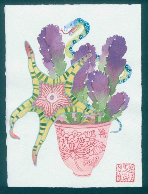 starfish cactus 1. original watercolor painting on paper