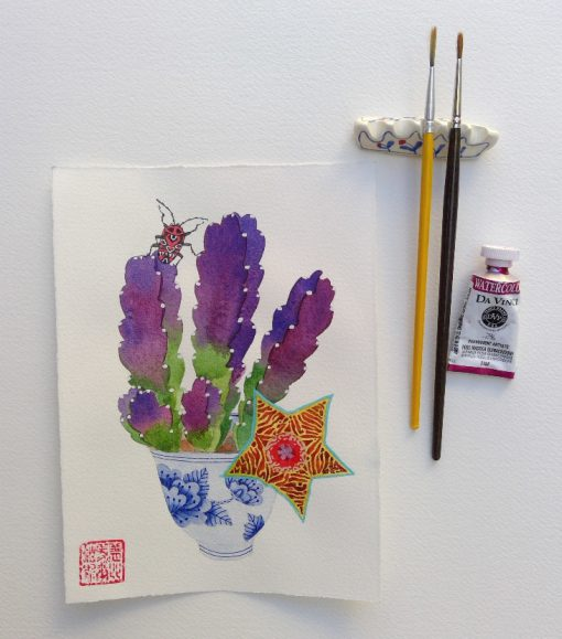 starfish cactus 2. original watercolor painting on paper