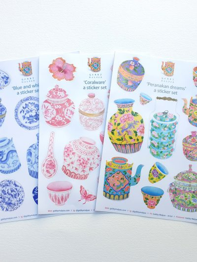 chinoiserie Gabby Malpas Set of 3 x sticker sets A4