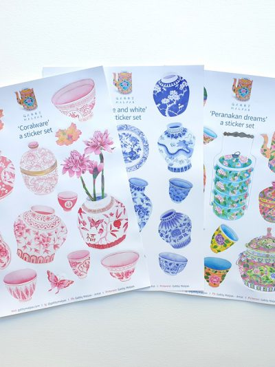 Chinoiserie and Peranakan sticker sheets set of 3 A5 size